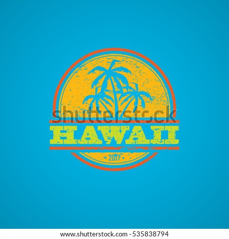 Colorful grunge Hawaii label with text and palm silhouettes