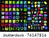 Colorful Grunge Summer Alphabet and Symbols Library on Black Background in Vector EPS10 - stock vector