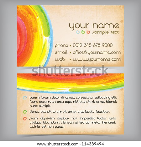 Colorful grungy business card design - stock vector