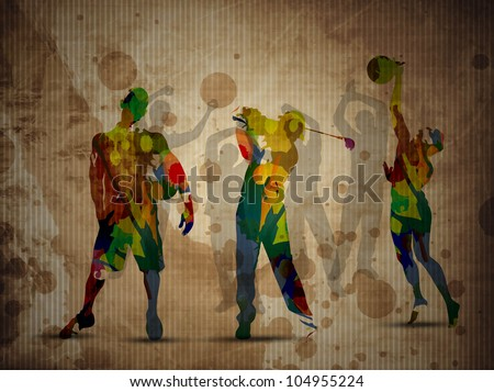 Colorful grungy illustration of football soccer player, basketball player  and golf player on  grungy brown background. - stock vector