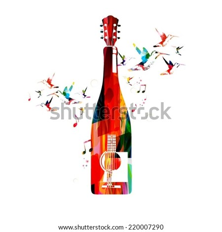 Colorful guitar and bottle design  - stock vector