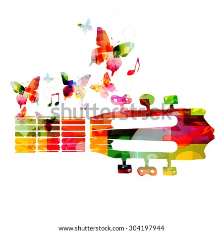 Colorful guitar fretboard with butterflies - stock vector
