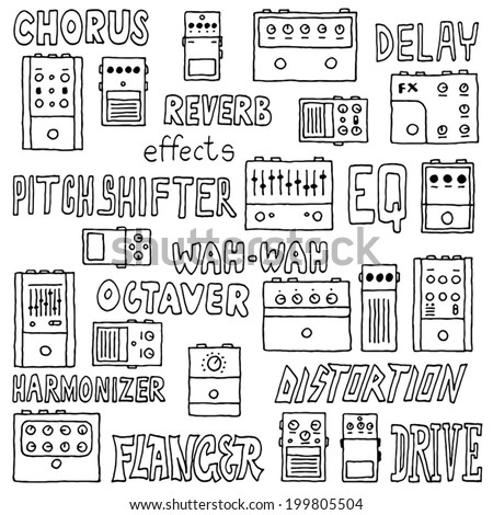 Colorful guitar pedals. Hand drawn. Vector illustration. - stock vector