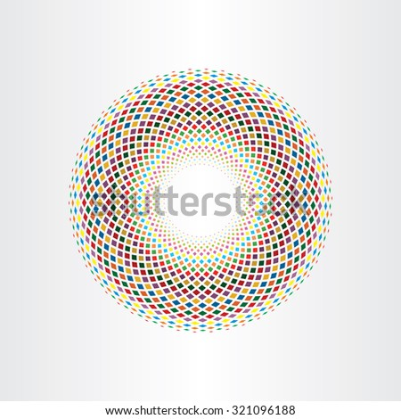 colorful halftone squares circle abstract background vector element