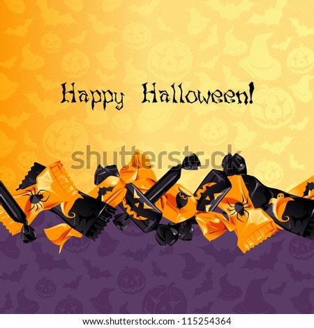 Colorful Halloween candy background (eps10); - stock vector