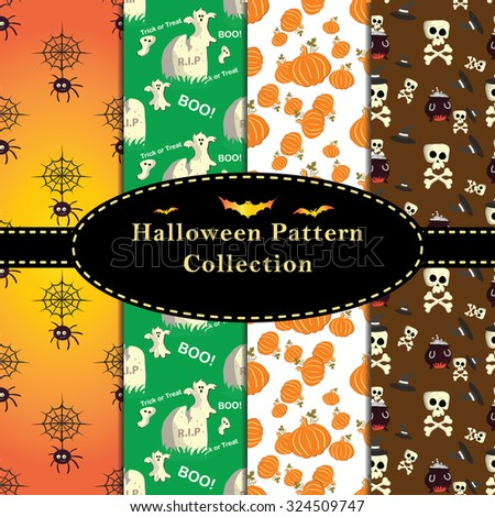 Colorful Halloween Patterns collection. Set of seamless patterns for fabric,  wrapping paper,etc. Print colors used. Patterns are in swatches.