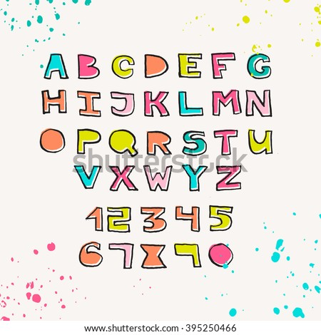 Colorful hand drawn abc alphabet vector stock vector royalty free colorful hand drawn abc alphabet vector hand drawn font for greeting card poster m4hsunfo
