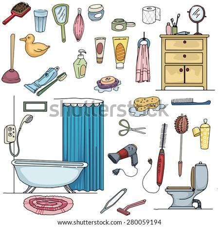 Colorful Hand drawn Bathroom, clean, hygiene set, vector illustration - stock vector