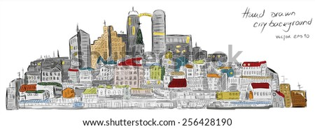 Colorful hand drawn city scape. Vector eps10. - stock vector