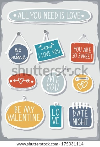 Colorful hand drawn different shaped label set isolated on gray background with love messages - stock vector