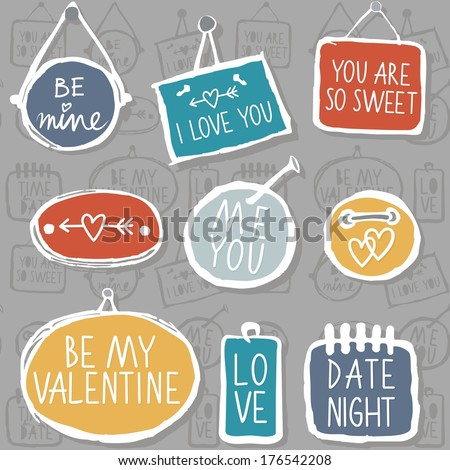 Colorful hand drawn different shaped label set isolated on gray background with love messages love romantic wedding valentines day seamless pattern - stock vector