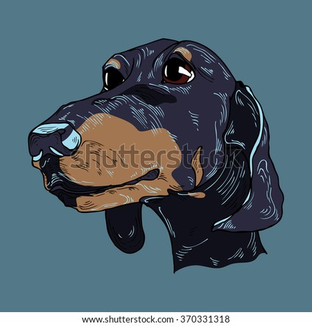 Colorful hand drawn dog portrait in vector - stock vector