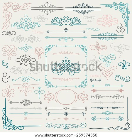 Colorful Hand Drawn Doodle Design Elements. Frames, Borders, Swirls. Vector Illustration - stock vector