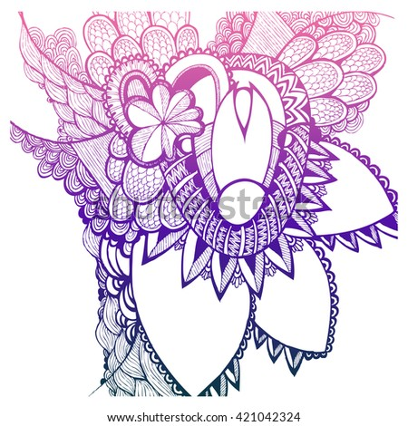 Colorful Hand drawn flowers. Doodling. Zentangle. - stock vector