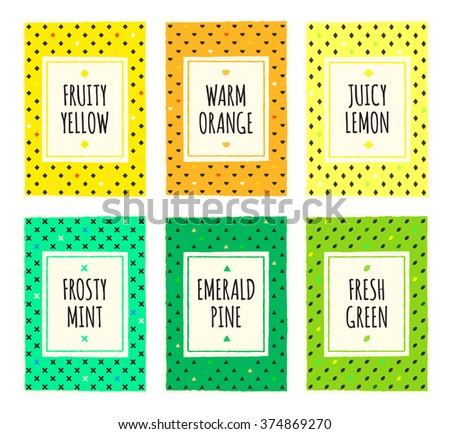 Colorful hand drawn fruit pattern cards set. Cover, label, tag, stickers, brochure title sheet. Template for scrapbooking. Creative design frame. Modern geometric texture background. A4 EPS10 vector. - stock vector