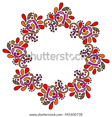 Colorful hand drawn mandala indian frame. Round curly frame isolated on white background. Vector illustration. - stock vector
