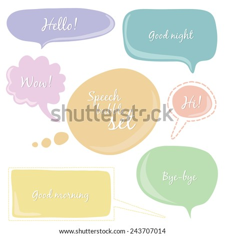 Colorful hand drawn speech bubble set with different text. Cute templates. - stock vector