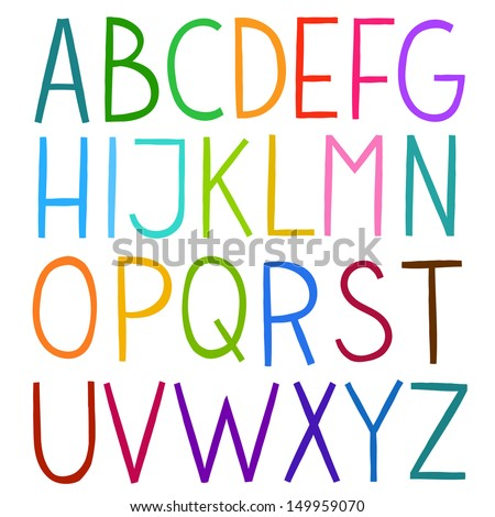 Colorful hand drawn vector full alphabet. The vector Roman alphabet. - stock vector