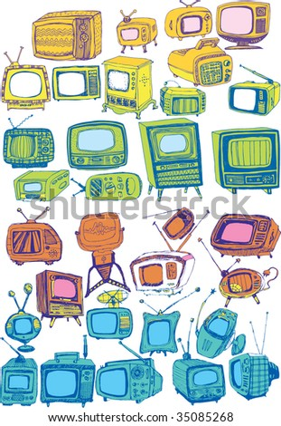 colorful hand drawn vector TVs - stock vector