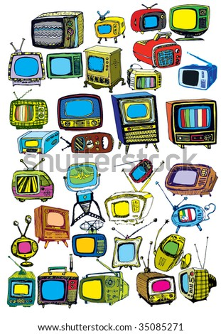 colorful hand drawn vector TVs