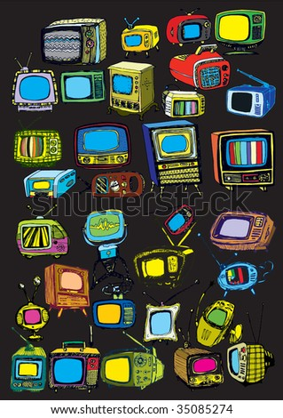 colorful hand drawn vector TVs on black - stock vector