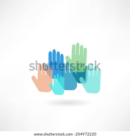 colorful hand icon - stock vector