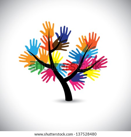 Colorful hand & palm imprints as leaves & flowers of tree- vector. This graphic represents people team standing united, community support, people helping each other, universal brotherhood, etc - stock vector