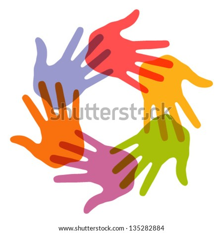 Colorful Hand Print icon, vector illustration - stock vector