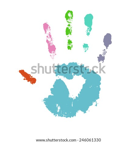 Colorful hand print, vector illustration, isolated white background - stock vector