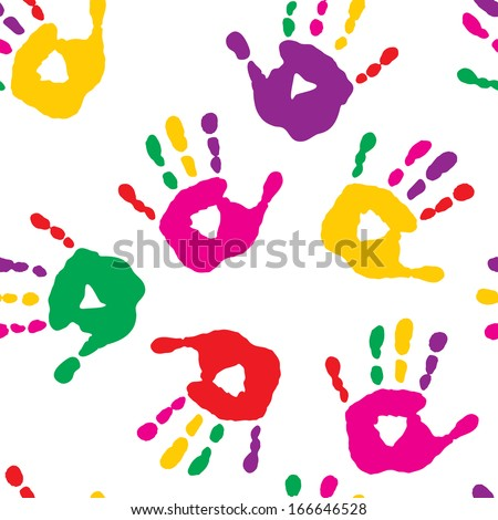 Colorful hand prints on a white background - stock vector