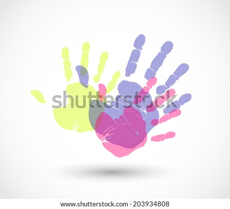 Colorful hand prints vector - stock vector
