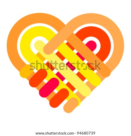 colorful hand shake, vector - stock vector