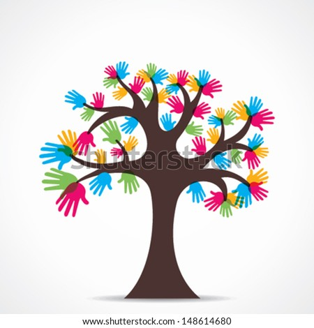colorful hand tree vector - stock vector