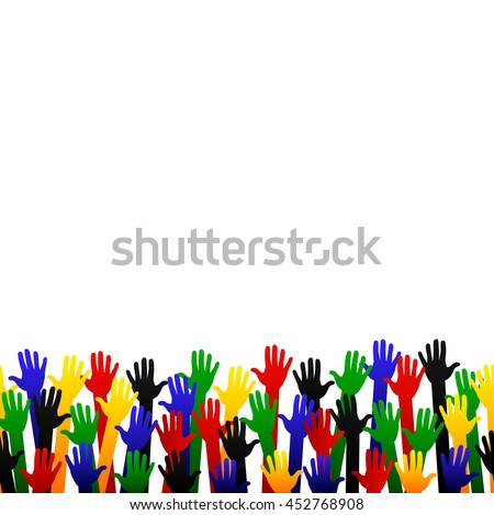 Colorful Hand Up text space Vector isolated on white background.