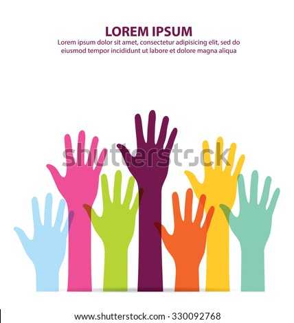 Colorful Hand Up Vector - stock vector