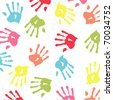 colorful handprint - stock photo