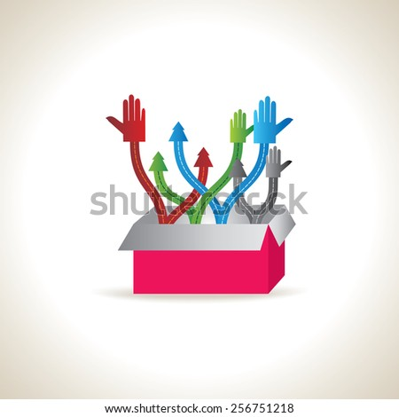 colorful hands and arrow out of box team work concept idea - stock vector