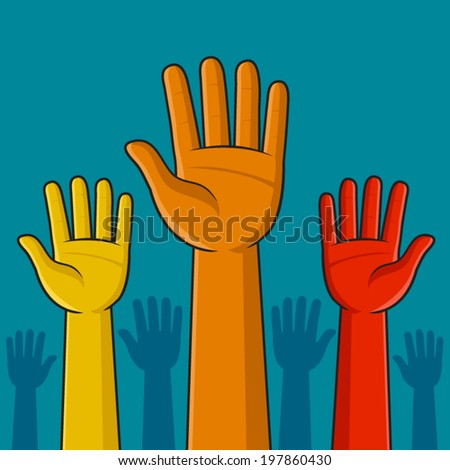 Colorful hands raised in the air vector illustration