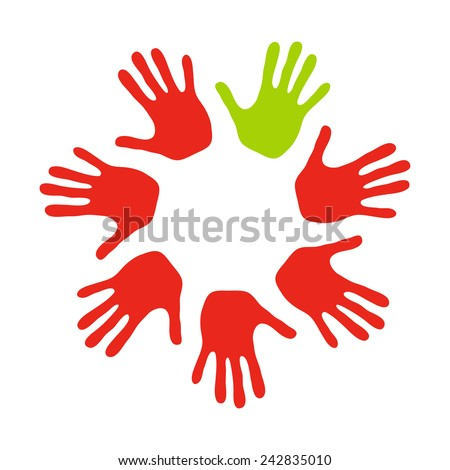 Colorful hands. Red hands with one green - stock vector