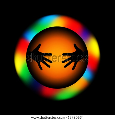 colorful hands symbol - stock vector
