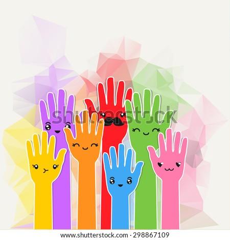 colorful hands emoji background vector illustration stock vector
