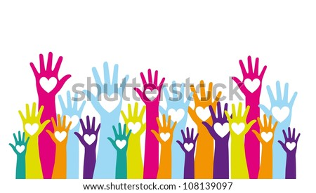 colorful hands up with hearts over white background. vector