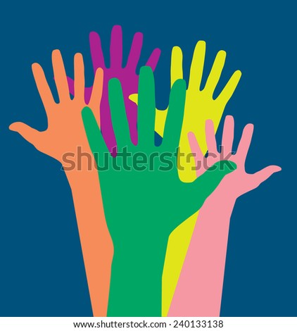 Colorful hands vector artwork