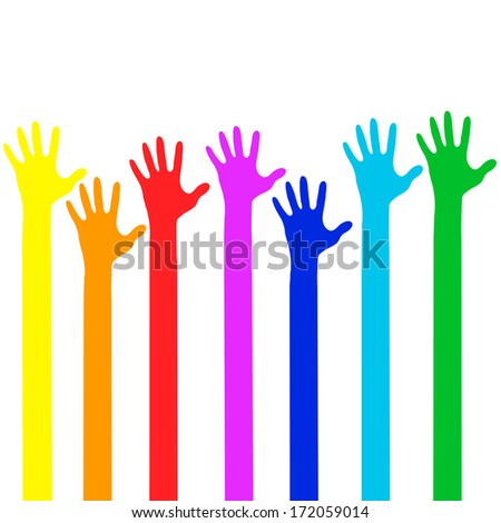 Colorful Hands - Vector Illustration - stock vector