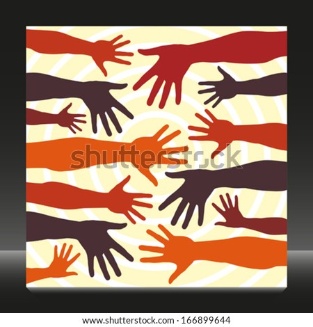 Colorful hands vector pattern.  - stock vector