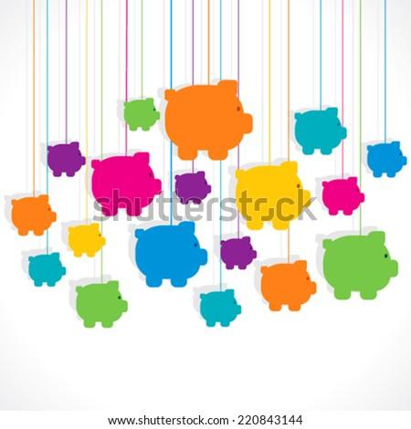 colorful hang piggy bank background vector - stock vector