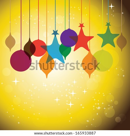 colorful hanging baubles on orange yellow background - concept vector. The concept graphic can represent festivals like christmas or xmas, new year, birthday & wedding events, valentine's day, etc