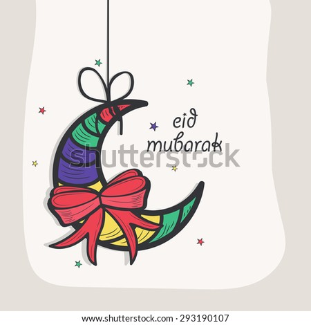 Colorful hanging creative crescent moon with bow for muslim community festival, Eid Mubarak celebration, can be used as greeting card or invitation card.