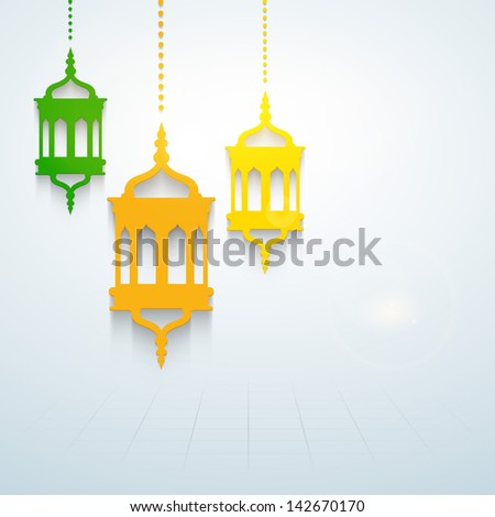 Colorful hanging intricate Arabic lamps concept for holy month of muslim community Ramadan Kareem. - stock vector
