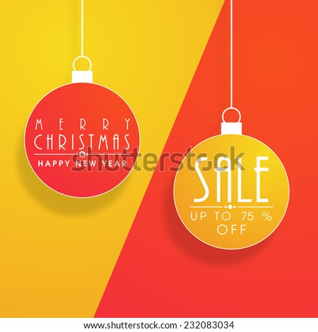 Colorful hanging X-mas balls with stylish text for Merry Christmas and Happy New Year celebrations. - stock vector